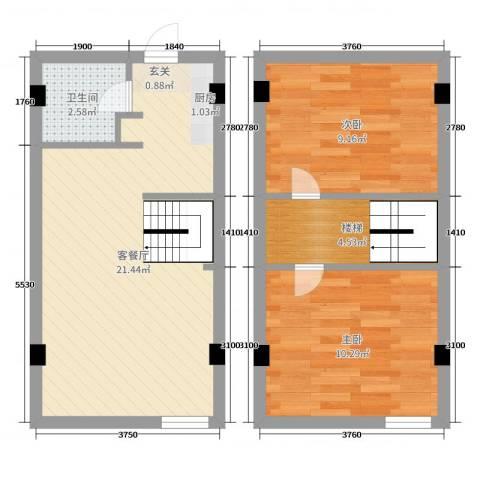 嘉乐城2室2厅1卫0厨60.00㎡户型图