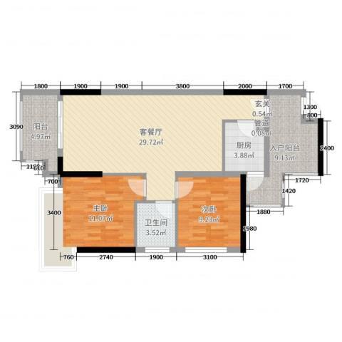 丰泰观山碧水・凌峰2室2厅1卫1厨88.00㎡户型图