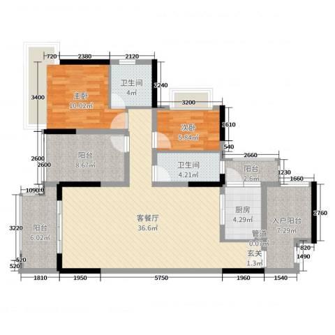 丰泰观山碧水・凌峰2室2厅2卫1厨104.00㎡户型图