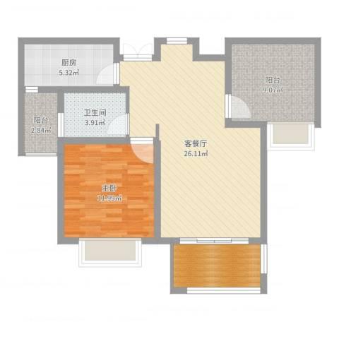 水榭花城1室2厅1卫1厨81.00㎡户型图