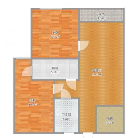 飞龙新苑2室2厅1卫1厨91.00㎡户型图