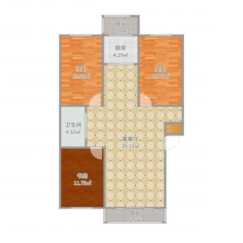 丽景国际117㎡李姐3室2厅1卫1厨117.00㎡户型图