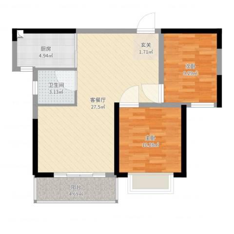 橘洲新苑2室2厅1卫1厨75.00㎡户型图