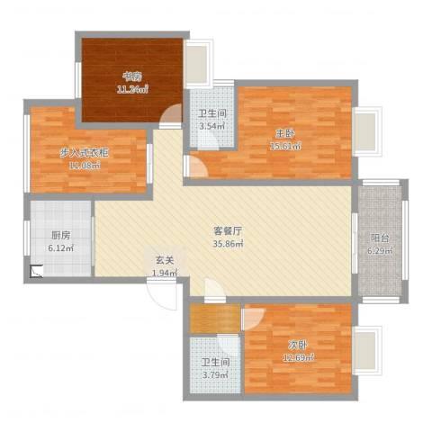 君临华庭3室2厅2卫1厨135.00㎡户型图