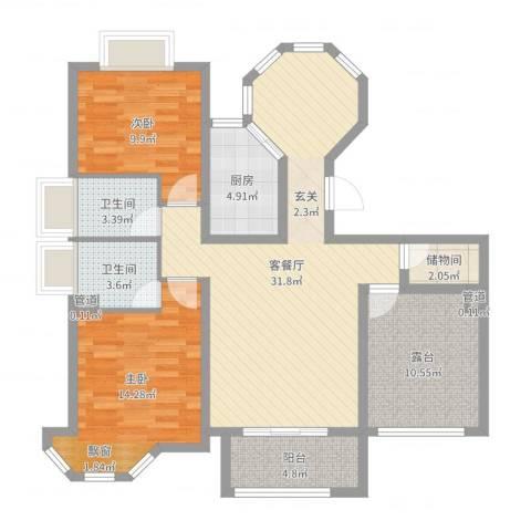 水榭花城2室2厅2卫1厨107.00㎡户型图