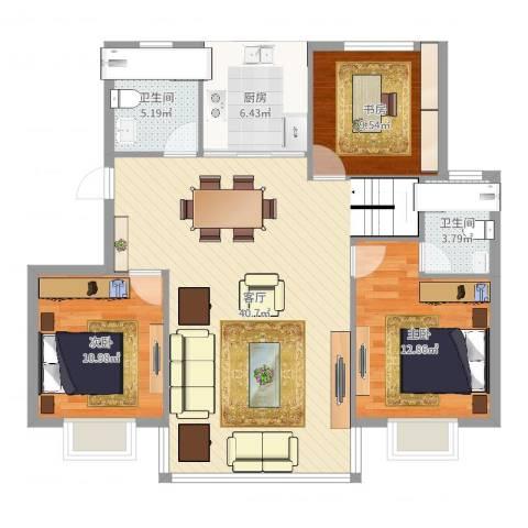 天官和庭3室1厅2卫1厨112.00㎡户型图