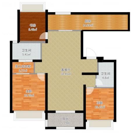万科草庄西岸3室2厅2卫1厨130.00㎡户型图