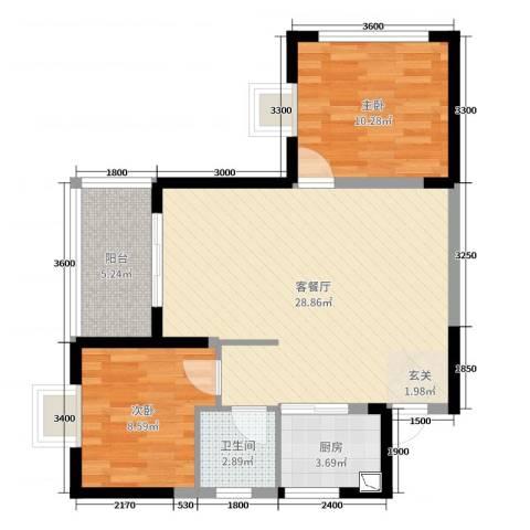 铜锣湾2室2厅1卫1厨83.00㎡户型图