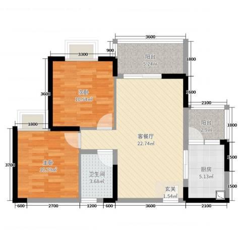铜锣湾2室2厅1卫1厨87.00㎡户型图