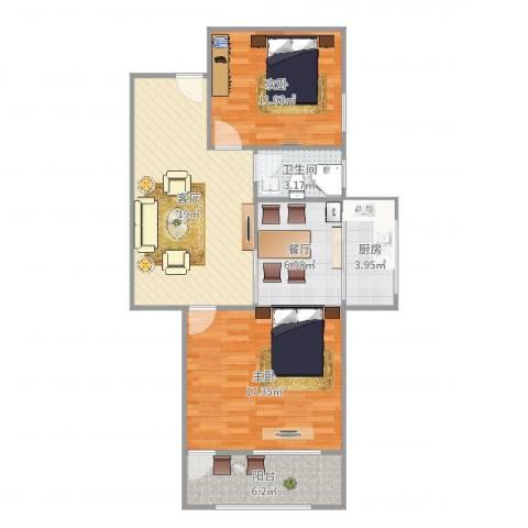 机床一厂宿舍2室2厅1卫1厨86.00㎡户型图