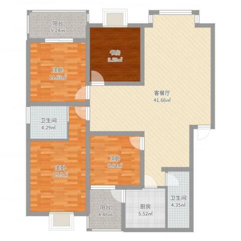 城南春天4室2厅2卫1厨139.00㎡户型图