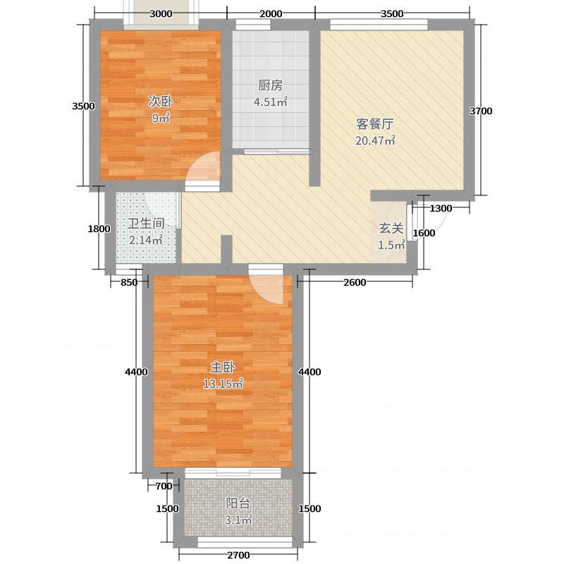 金盛田阳光青城75.00㎡二期09#标准层K户型2室2厅1卫1厨