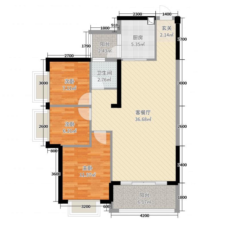 昶盛・昶园104.43㎡6栋2单元02户型3室3厅1卫1厨