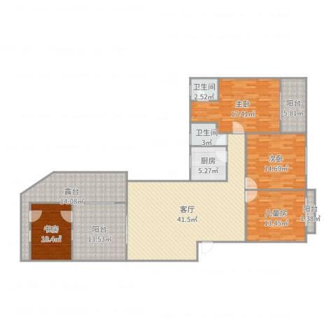 东泰花园景华苑4室1厅2卫1厨179.00㎡户型图