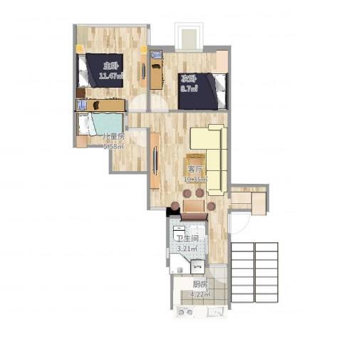 康乐小区(徐汇)3室1厅1卫1厨66.00㎡户型图