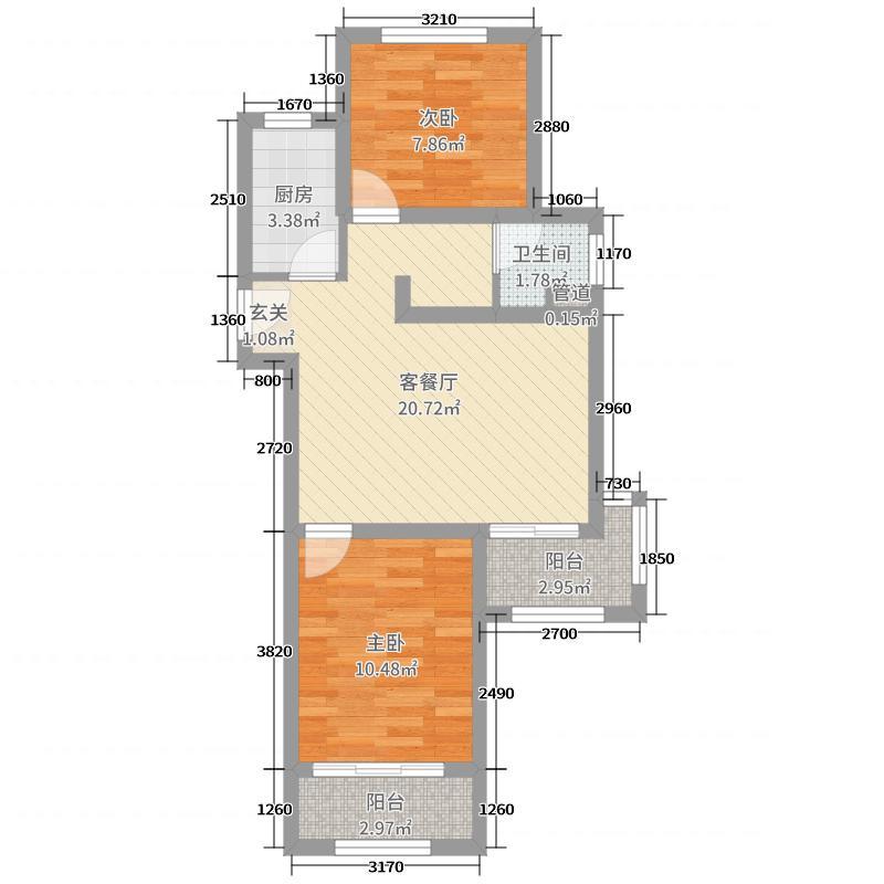 高科麓湾国际社区82.00㎡gd3户型2室2厅1卫1厨
