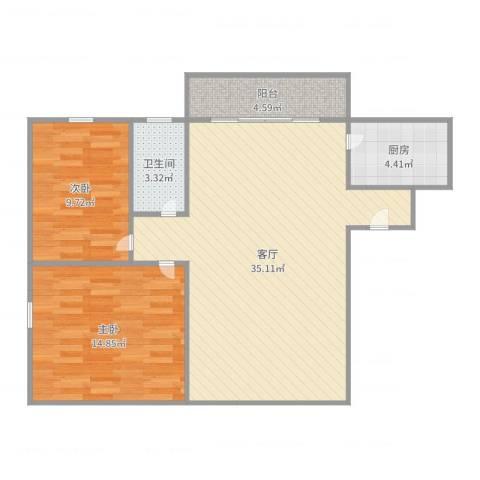 宇翠庭2室1厅1卫1厨90.00㎡户型图