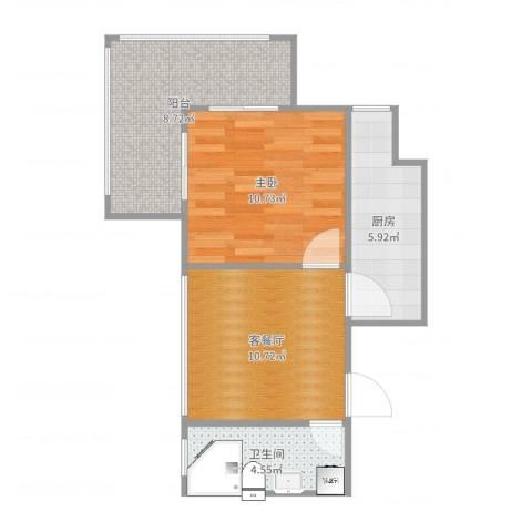 明天第一城7号院1室2厅1卫1厨51.00㎡户型图