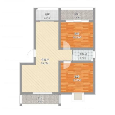 世嘉馨城2室2厅1卫1厨78.00㎡户型图