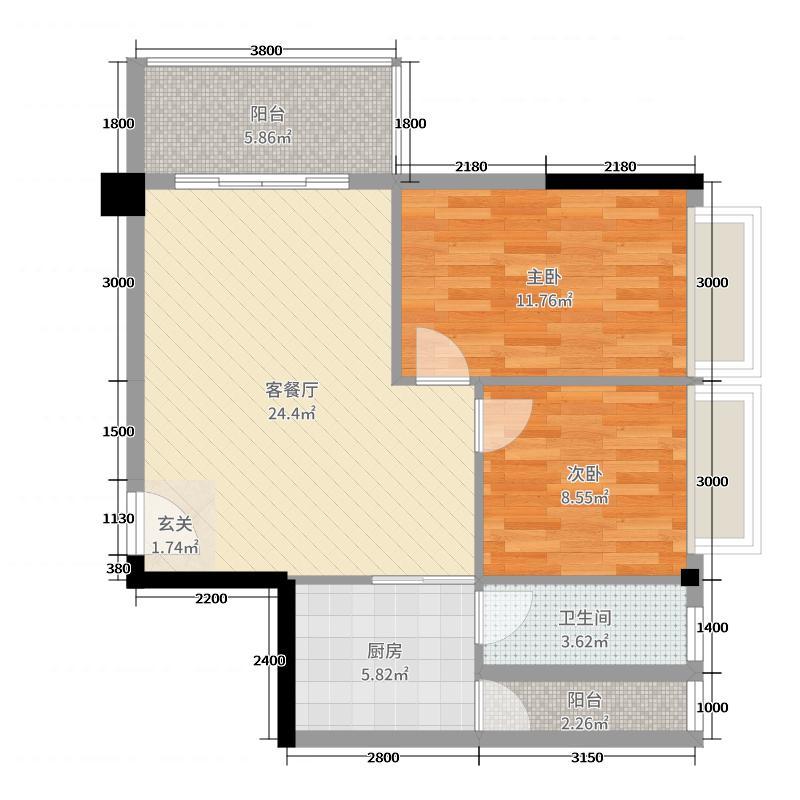 财富广场71.88㎡5号楼D户型2室2厅1卫1厨