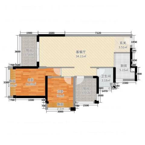 碧桂园翡翠山2室2厅1卫1厨92.00㎡户型图