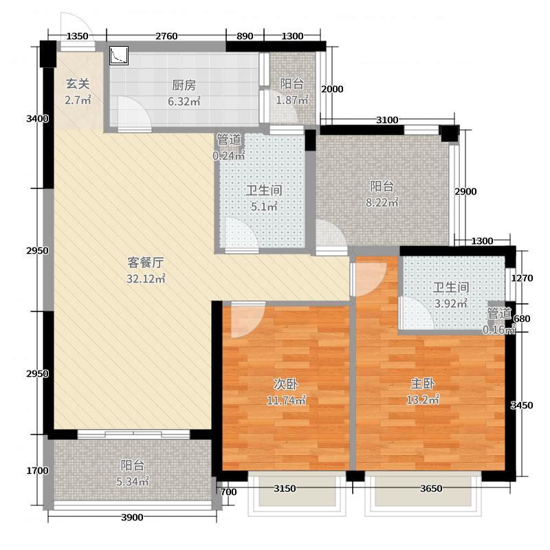 碧桂园翡翠山110.00㎡04户型2室2厅2卫1厨