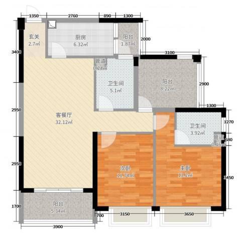 碧桂园翡翠山2室2厅2卫1厨110.00㎡户型图
