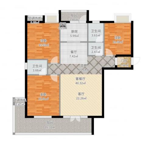 金色水岸花园3室2厅3卫1厨152.00㎡户型图