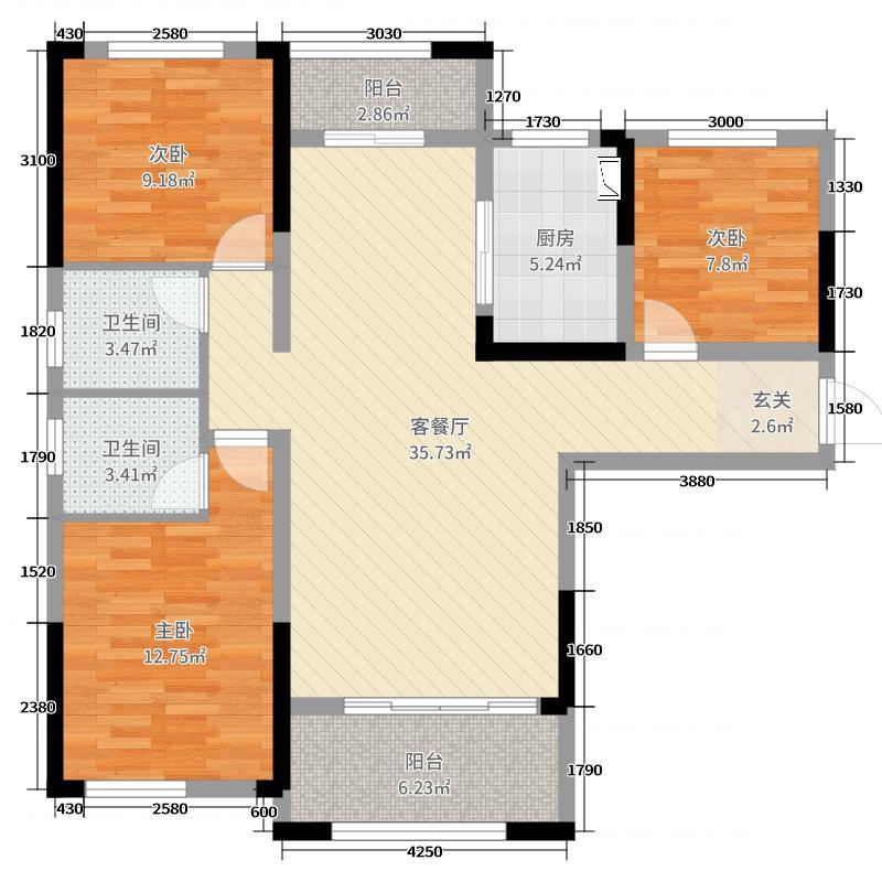 星河国际119.47㎡15栋D-2户型3室3厅2卫1厨