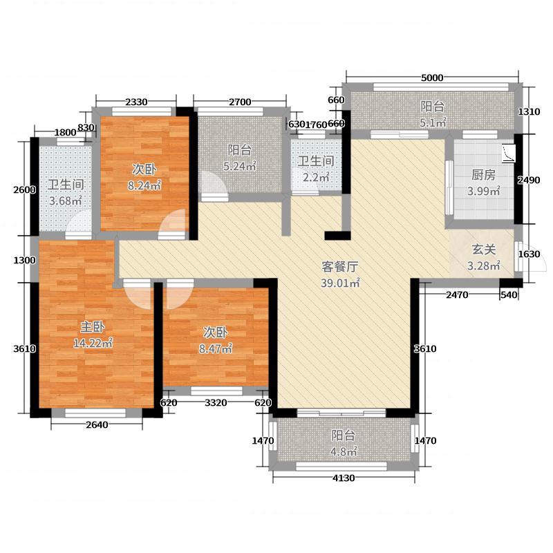 星河国际125.97㎡8栋B-1户型3室3厅2卫1厨