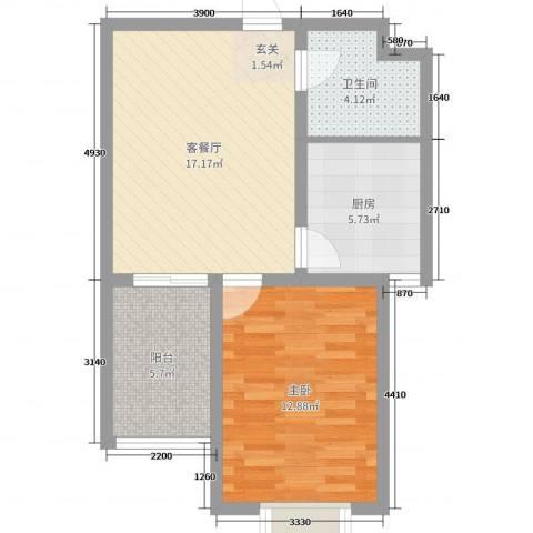 润地凤凰城1室2厅1卫1厨57.00㎡户型图