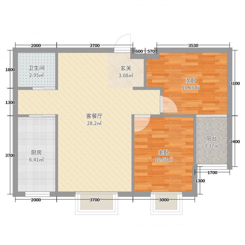 润地凤凰城88.00㎡二期19号楼D户型2室2厅1卫1厨