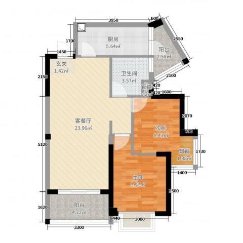 碧桂园翡翠山2室2厅1卫1厨76.00㎡户型图