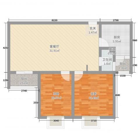 佳龙・大沃城2室2厅1卫1厨83.00㎡户型图