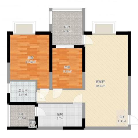 华宇国际2室2厅1卫1厨90.00㎡户型图