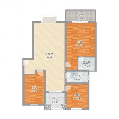 金色维也纳3室2厅2卫1厨125.00㎡户型图