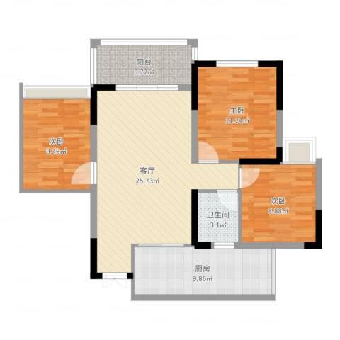 桓大东方国际3室1厅1卫1厨73.92㎡户型图