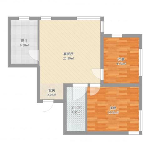 金域明珠2室2厅1卫1厨69.00㎡户型图