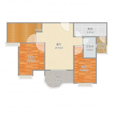 如皋碧桂园2室1厅1卫2厨95.00㎡户型图