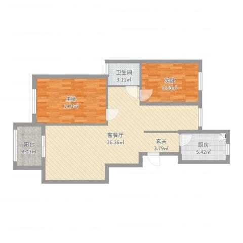 丰县翡翠城2室2厅1卫1厨92.00㎡户型图