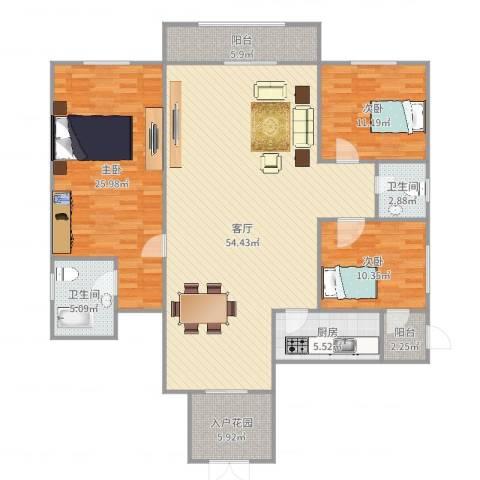 保利花园二期3室1厅2卫1厨162.00㎡户型图