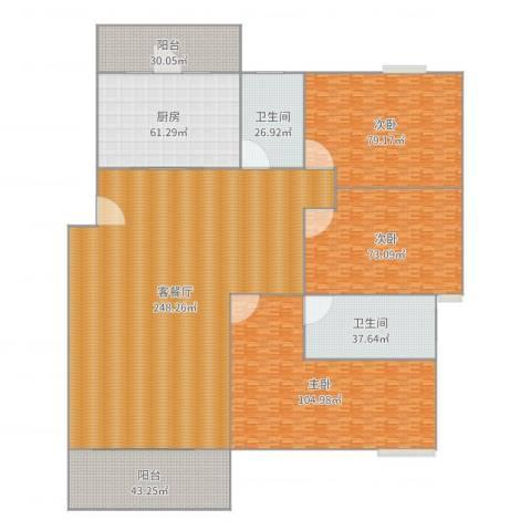 幸福豪庭3室2厅2卫1厨881.00㎡户型图