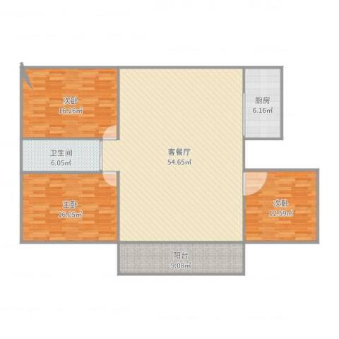 新顾村大家园d3室2厅1卫1厨151.00㎡户型图