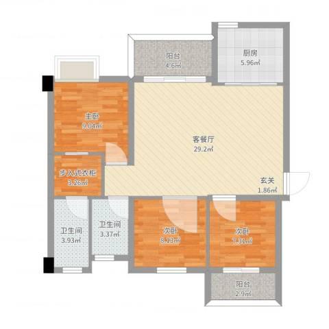 中骏蓝湾悦庭3室2厅2卫1厨97.00㎡户型图