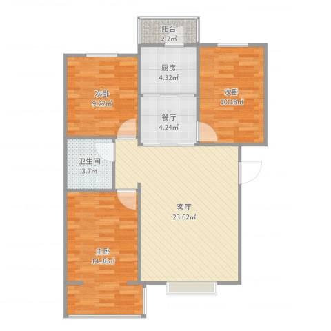 温馨家园3室2厅1卫1厨90.00㎡户型图