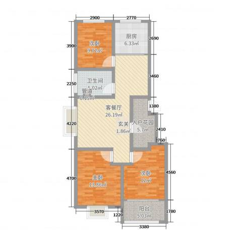 辰隆星河城3室2厅1卫1厨105.00㎡户型图