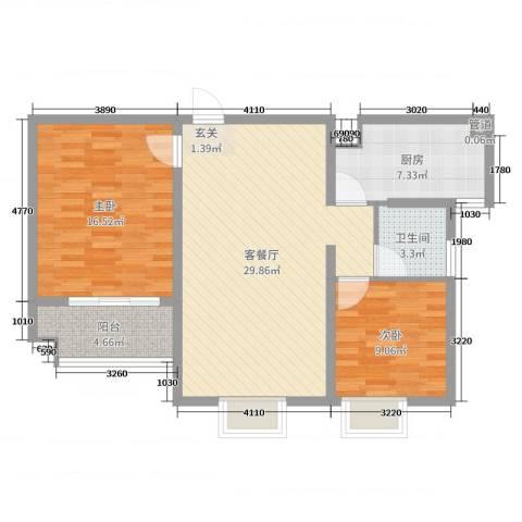 19802室2厅1卫1厨89.00㎡户型图