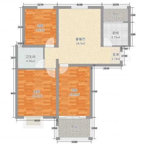 19803室2厅1卫1厨100.00㎡户型图