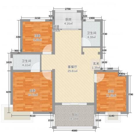19803室2厅2卫1厨109.00㎡户型图