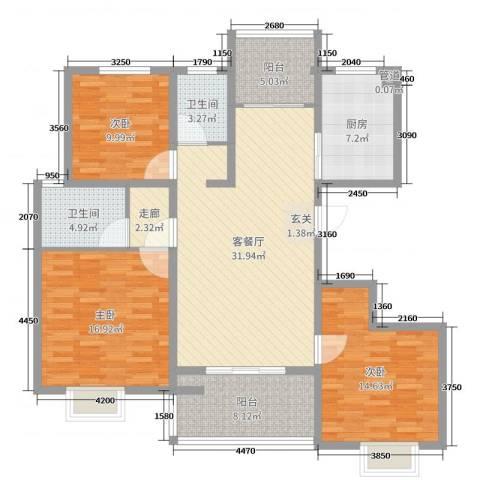 19803室2厅2卫1厨131.00㎡户型图
